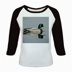 Wild Duck swimming in lake Kids Baseball Jerseys by picsaspassion