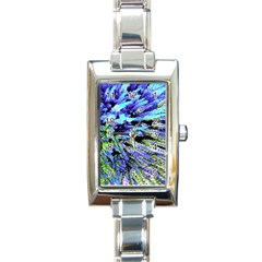 Colorful Floral Art Rectangle Italian Charm Watch by yoursparklingshop