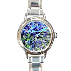 Colorful Floral Art Round Italian Charm Watch by yoursparklingshop