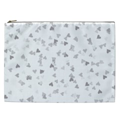 Silver Hearts Confetti Cosmetic Bag (xxl)  by theimagezone