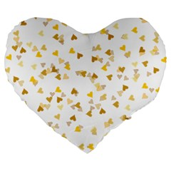 Gold Hearts Confetti Large 19  Premium Flano Heart Shape Cushions by theimagezone