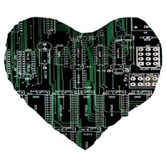 Printed Circuit Board Circuits Large 19  Premium Flano Heart Shape Cushions by Zeze