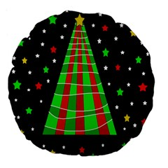 Xmas Tree  Large 18  Premium Flano Round Cushions by Valentinaart