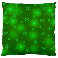 Green Xmas Design Large Flano Cushion Case (two Sides) by Valentinaart