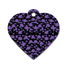Palm Trees Motif Pattern Dog Tag Heart (one Side) by dflcprints
