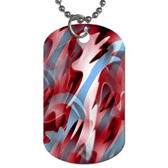 Blue And Red Smoke Dog Tag (one Side) by Valentinaart