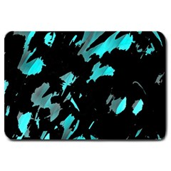 Painter Was Here   Cyan Large Doormat  by Valentinaart