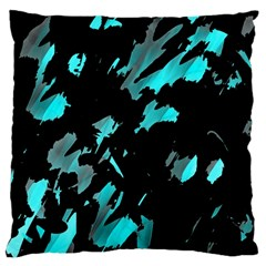 Painter Was Here   Cyan Large Flano Cushion Case (two Sides) by Valentinaart