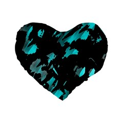 Painter Was Here   Cyan Standard 16  Premium Flano Heart Shape Cushions by Valentinaart