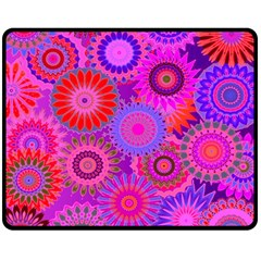 Funky Flowers C Double Sided Fleece Blanket (Medium)  by MoreColorsinLife