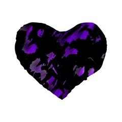 Painter Was Here   Purple Standard 16  Premium Flano Heart Shape Cushions by Valentinaart