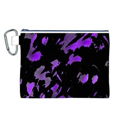 Painter Was Here   Purple Canvas Cosmetic Bag (l) by Valentinaart