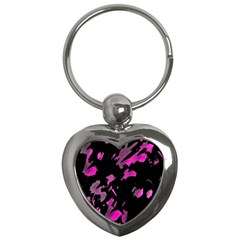 Painter Was Here   Magenta Key Chains (heart)  by Valentinaart