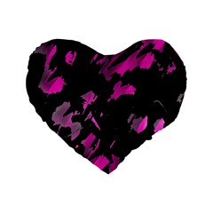 Painter Was Here   Magenta Standard 16  Premium Flano Heart Shape Cushions by Valentinaart