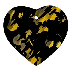Painter Was Here   Yellow Heart Ornament (2 Sides) by Valentinaart