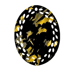 Painter Was Here   Yellow Ornament (oval Filigree)  by Valentinaart