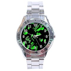 Painter Was Here   Green Stainless Steel Analogue Watch by Valentinaart