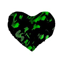 Painter Was Here   Green Standard 16  Premium Flano Heart Shape Cushions by Valentinaart