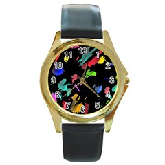 Painter Was Here Round Gold Metal Watch by Valentinaart