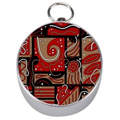 Red And Brown Abstraction Silver Compasses by Valentinaart