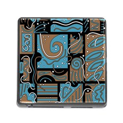 Blue And Brown Abstraction Memory Card Reader (square) by Valentinaart