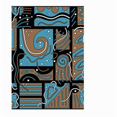 Blue And Brown Abstraction Large Garden Flag (two Sides) by Valentinaart