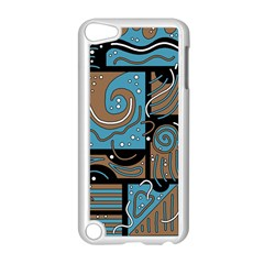 Blue and brown abstraction Apple iPod Touch 5 Case (White) by Valentinaart