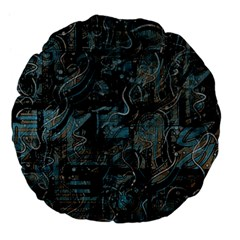 Blue town Large 18  Premium Flano Round Cushions by Valentinaart