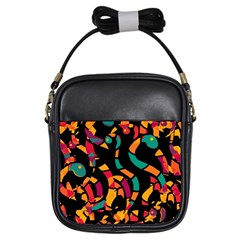 Colorful Snakes Girls Sling Bags by Valentinaart