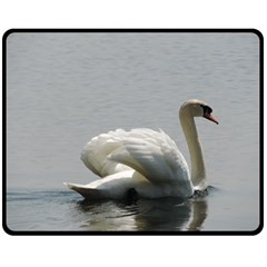 Swimming white Swan Double Sided Fleece Blanket (Medium)  by picsaspassion