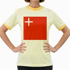 Flag of Canton of Schwyz Women s Fitted Ringer T-Shirts by abbeyz71