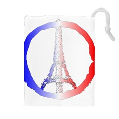 Peace Logo Of Eiffel Tower Drawstring Pouches (Extra Large) by Zeze