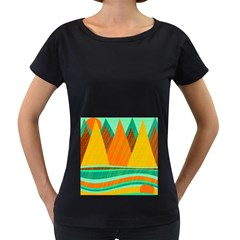 Orange And Green Landscape Women s Loose Fit T Shirt (black) by Valentinaart