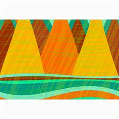Orange and green landscape Collage Prints by Valentinaart