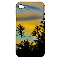 Tropical Scene At Sunset Time Apple Iphone 4/4s Hardshell Case (pc+silicone) by dflcprints