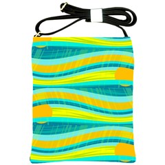 Yellow And Blue Decorative Design Shoulder Sling Bags by Valentinaart