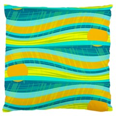 Yellow And Blue Decorative Design Large Flano Cushion Case (two Sides) by Valentinaart