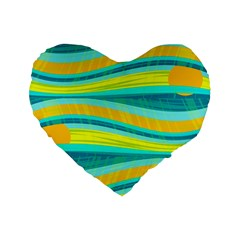 Yellow And Blue Decorative Design Standard 16  Premium Flano Heart Shape Cushions by Valentinaart