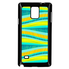Yellow And Blue Decorative Design Samsung Galaxy Note 4 Case (black) by Valentinaart