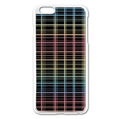 Neon Plaid Design Apple Iphone 6 Plus/6s Plus Enamel White Case by Valentinaart