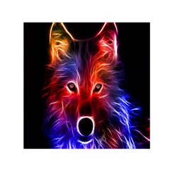 3d Colorful Fox Small Satin Scarf (Square) by Zeze