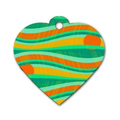 Green And Orange Decorative Design Dog Tag Heart (one Side) by Valentinaart