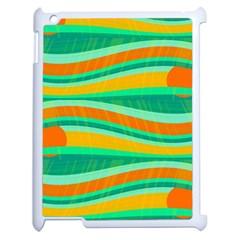 Green And Orange Decorative Design Apple Ipad 2 Case (white) by Valentinaart