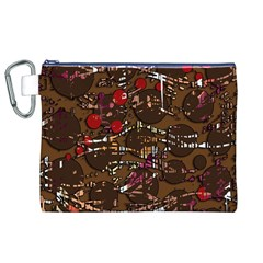Brown Confusion Canvas Cosmetic Bag (xl) by Valentinaart