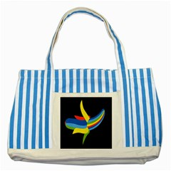 Abstraction Banana Striped Blue Tote Bag by AnjaniArt