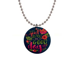 C mon Get Happy With A Bright Floral Themed Print Button Necklaces by AnjaniArt