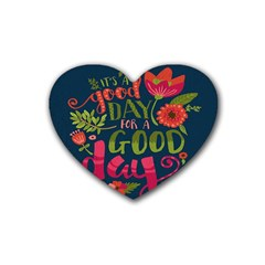 C mon Get Happy With A Bright Floral Themed Print Heart Coaster (4 Pack)  by AnjaniArt