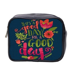 C mon Get Happy With A Bright Floral Themed Print Mini Toiletries Bag 2 Side by AnjaniArt