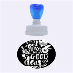 C mon Get Happy With A Bright Floral Themed Print Rubber Oval Stamps by AnjaniArt