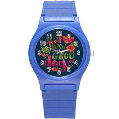 C mon Get Happy With A Bright Floral Themed Print Round Plastic Sport Watch (s) by AnjaniArt